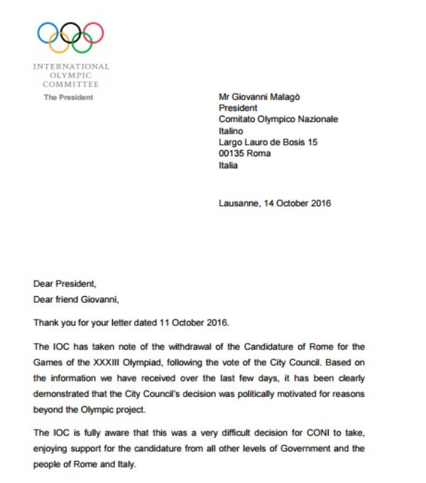 The letter sent by Thomas Bach to the Italian National Olympic Committee ©IOC/CONI