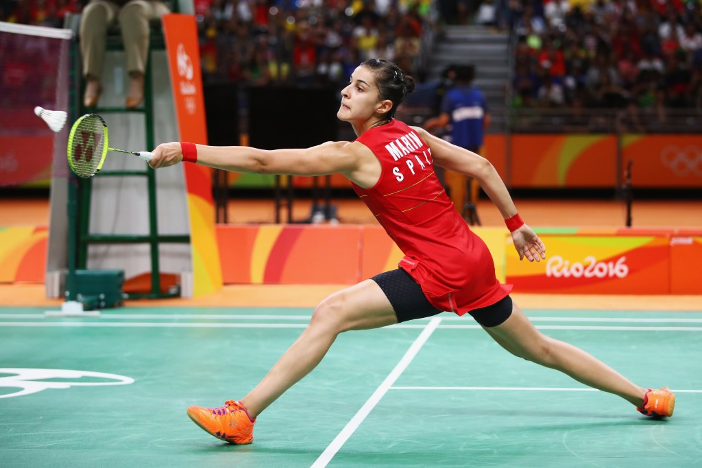 Olympic and world champion Carolina Marin recovered from match point down against home favourite Julie Dawall Jakobsen to book her place in the second round of the Yonex Denmark Open ©Getty Images