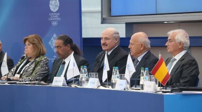 Belarus President Alexander Lukashenko, centre, claimed there was