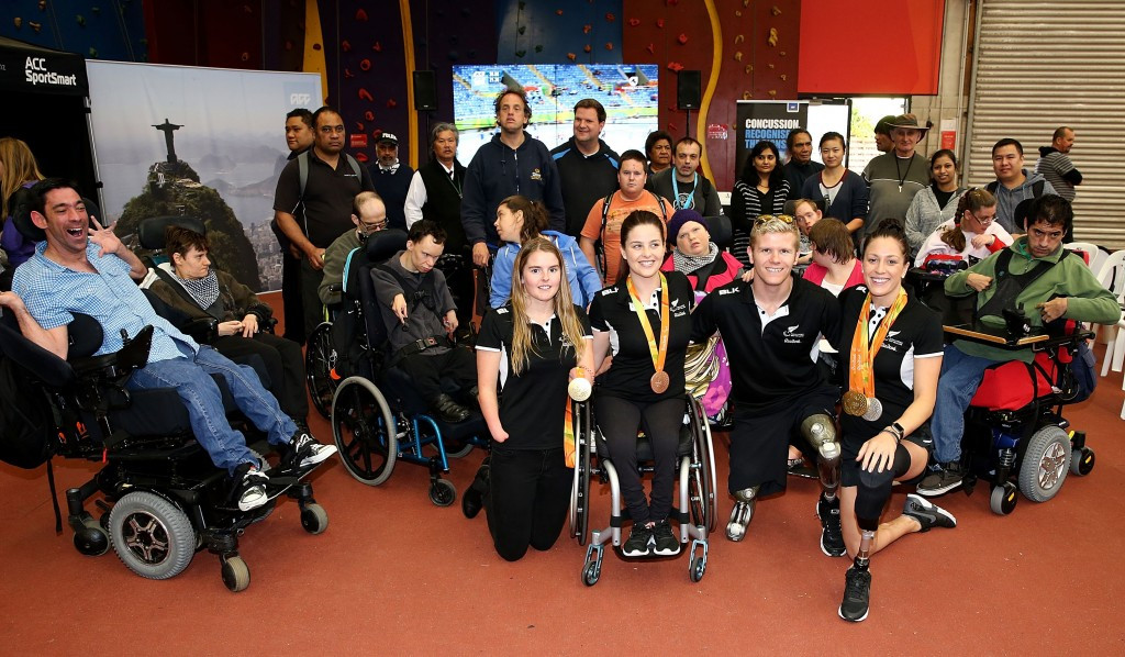 Rio 2016 Paralympic Games gold medallists Sophie Pascoe, Cameron Leslie and Nikita Howarth were in attendance at the AUT Millennium in Auckland to launch the first ACC Paralympics New Zealand open day ©Getty Images