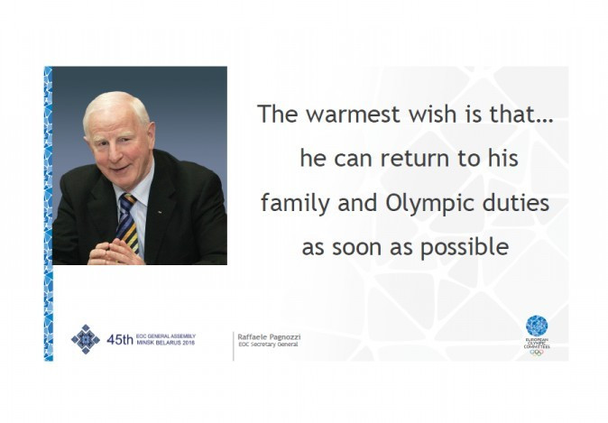 A message of support for Patrick Hickey was flashed onto the big screen during the 45th European Olympic Committees General Assembly in Minsk ©EOC