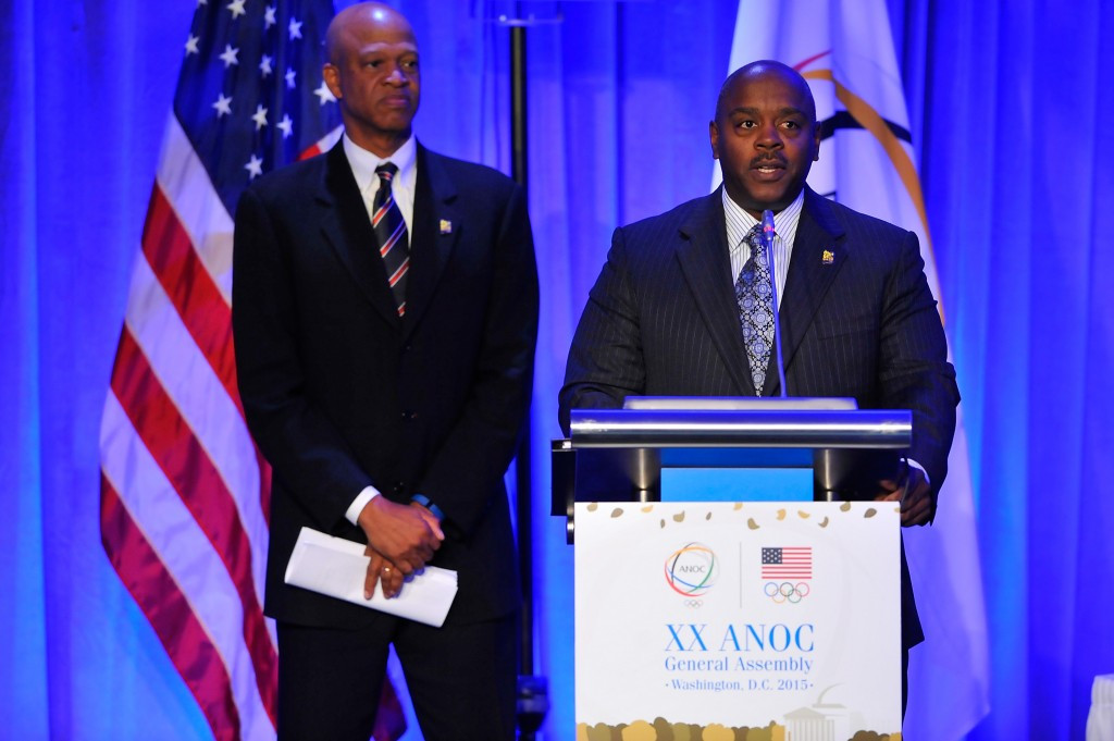 Willie Banks, left, and Vincent Mudd pictured during last year's ANOC General Assembly in Washington D.C. where San Diego were awarded the first-ever World Beach Games ©Getty Images