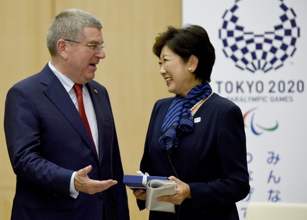 Tokyo Governor Yuriko Koike, pictured with IOC President Thomas Bach, has called for a cost review ©Getty Images