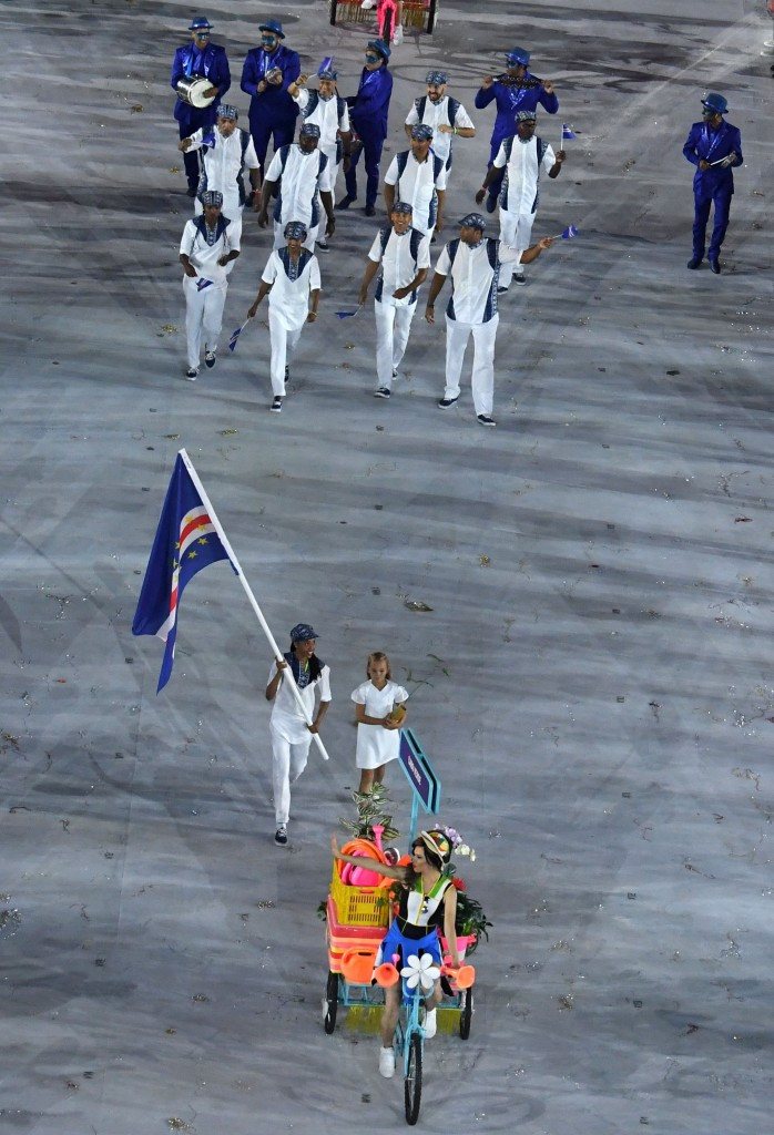 Cape Verde's team pictured marching at the Opening Ceremony of the Rio 2016 Olympic Games, where taekwondo player Maria Andrade acted as flagbearer ©Getty Images
