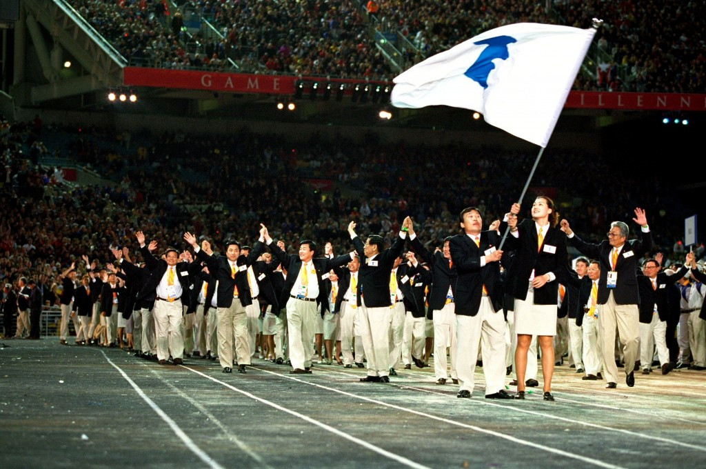 The two Korean teams walked under the same flag at Sydney 2000 ©Getty Images