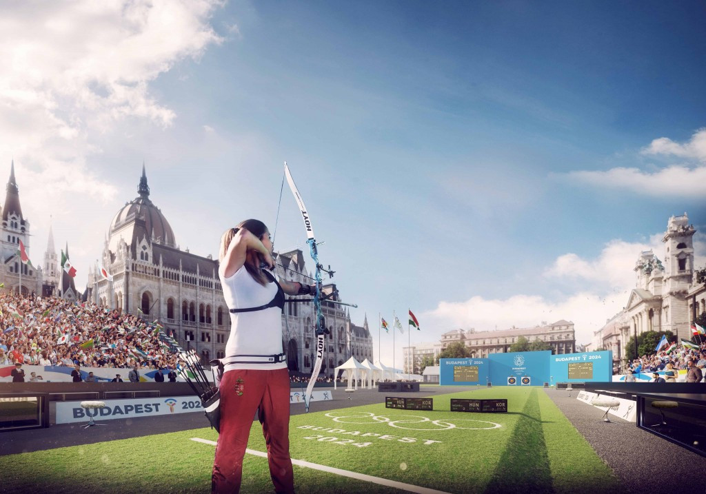 Budapest 2024 has released computer generated images of the proposed venue organisers hope will stage archery at the Olympics and Paralympics ©Budapest 2024