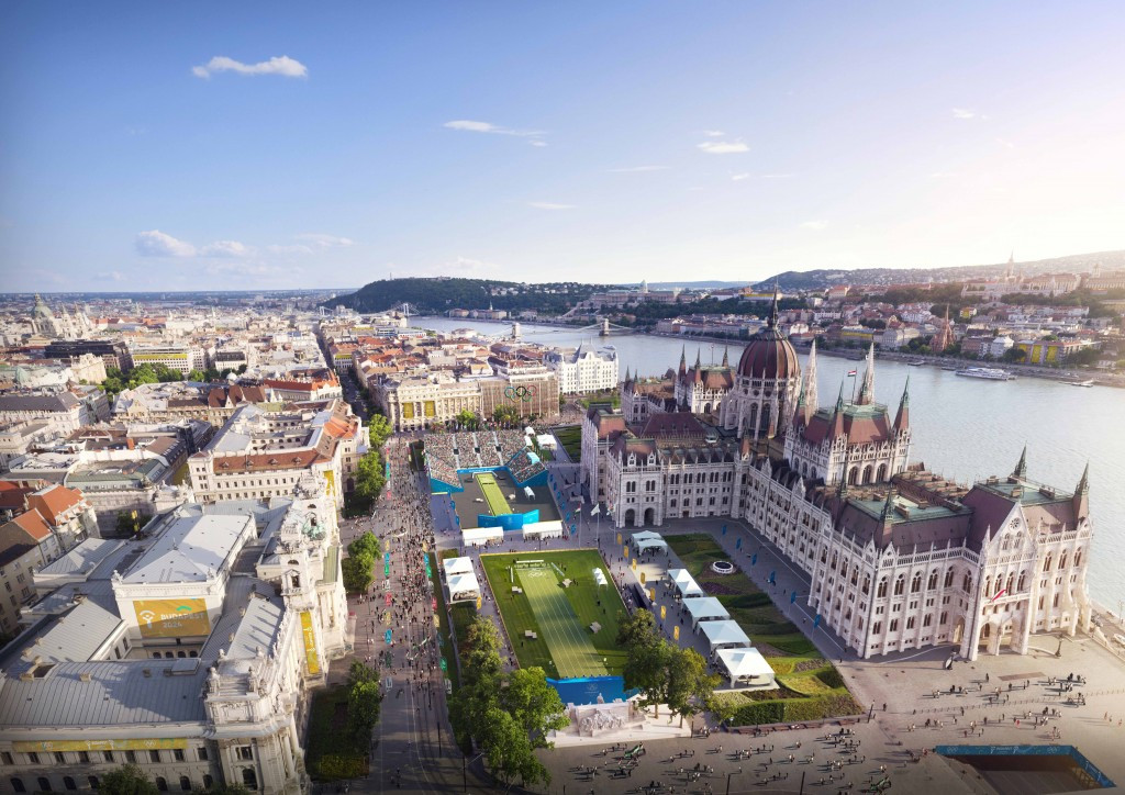 The venue would be built in Kossuth Square, outside of the Hungarian capital's famous Parliament building ©Budapest 2024