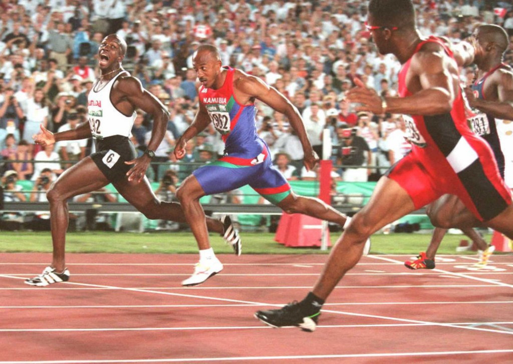 Donovan Bailey won the 100m title at the Atlanta 1996 Olympic Games in a world record time ©Getty Images