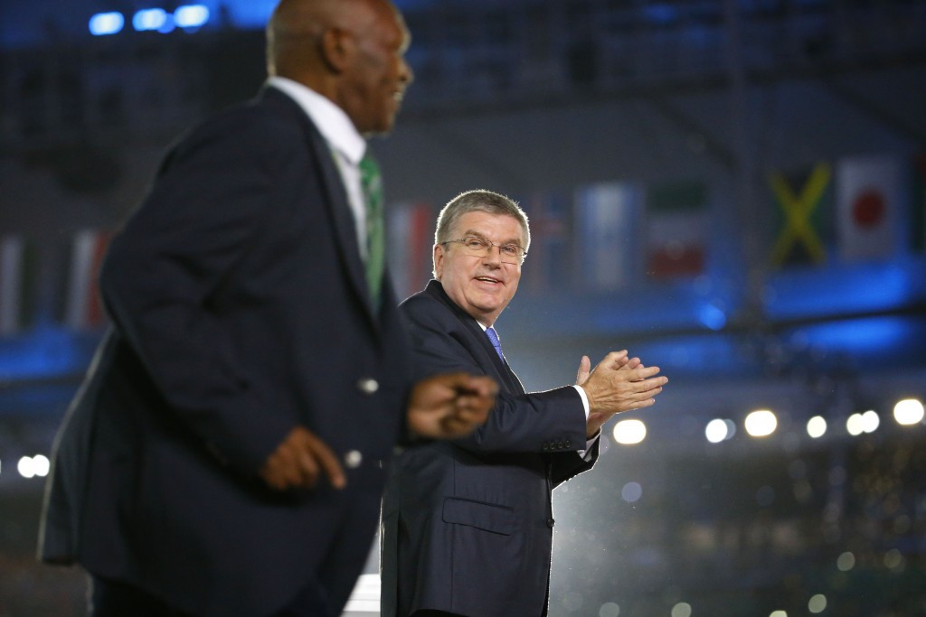 NOCK President Kipchoge Keino (left) pictured after receiving a new Olympic Laurel award from IOC President Thomas Bach at the Opening Ceremony of Rio 2016 ©Getty Images