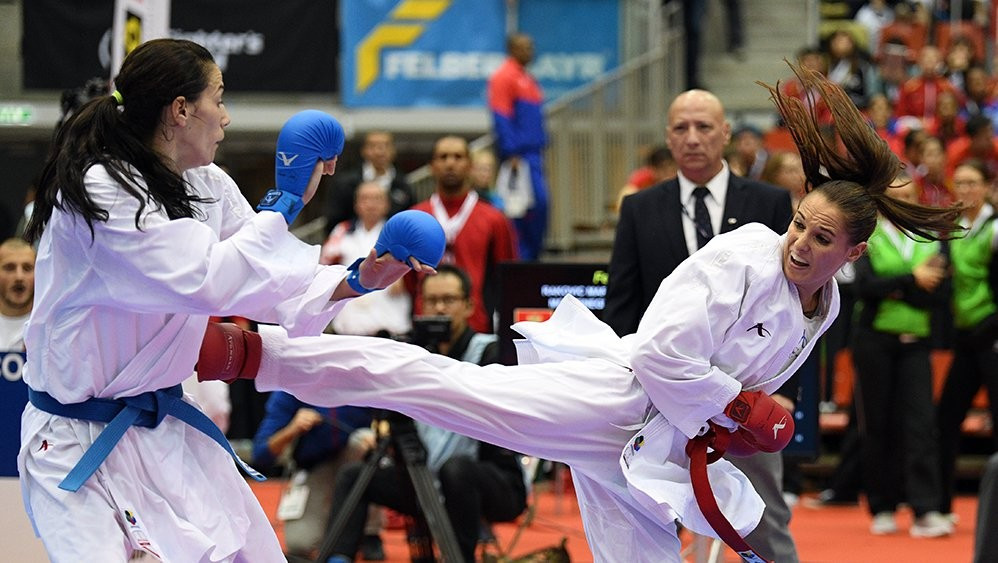 Austria's Alisa Buchinger made it to the final of the women's under 68 kilograms competition on home soil during the first day of competition at the Karate World Championships in Linz, Austria