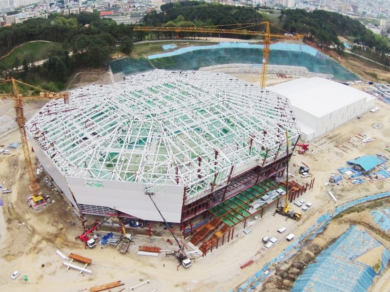 The Gangneung Hockey Centre, pictured during construction this year, is among the venues visited by the inspection panel ©Pyeongchang 2018