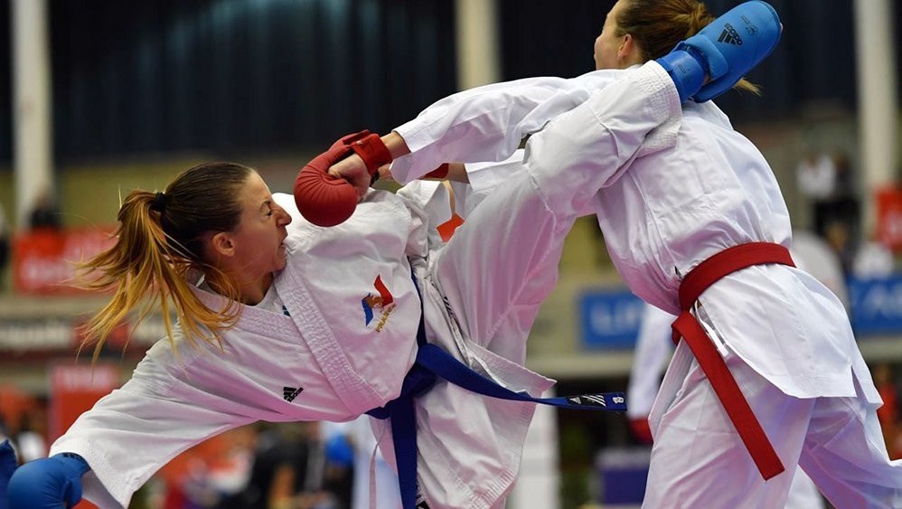 Alexandra Recchia was one of three French women to reach a kumite final on day two of the Karate World Championships in Linz ©WKF