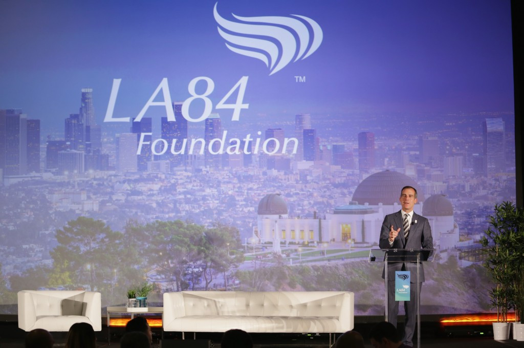 Los Angeles Mayor Eric Garcetti claimed sport in the city has helped shape him ©Los Angeles 2024