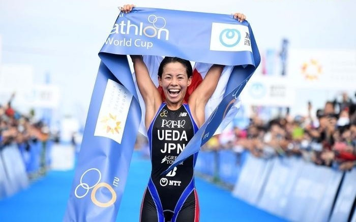 Ai Ueda of Japan improved on her silver medal in Tongyeong last weekend to take gold on home soil today ©Delly Carr/ITU Media