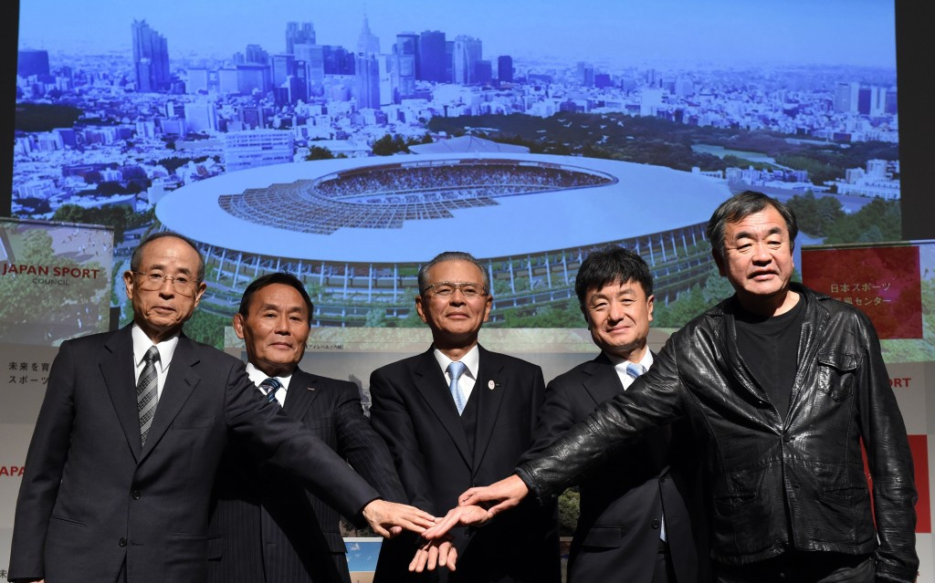 Architect Kengo Kuma made the announcement after the Japan Sports Council unveiled artist renditions of the National Stadium ©Getty Images