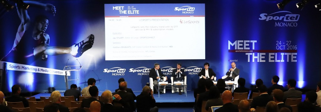 Yu Hang, second right, chief operating officer of LeSports, a Chinese company, believes some sports need a radical overhaul if they are to have a long-term future in this new age ©Sportel