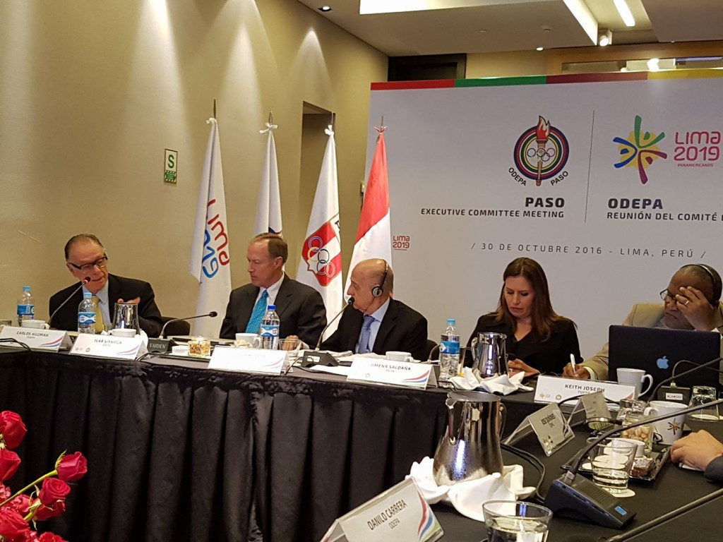 PASO President Julio Maglione, centre, led discussions on Lima's preparations for the 2019 Pan American Games, which is facing several challenges ©Facebook/Lima 2019