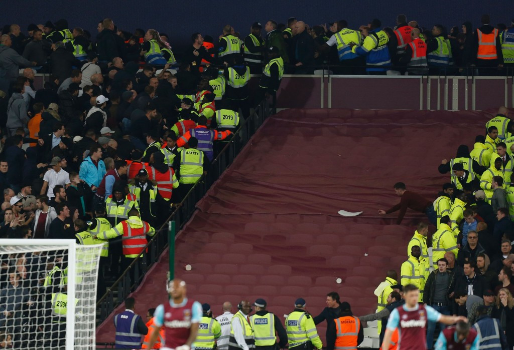 Hooliganism marred West Ham United's EFL Cup victory over Chelsea at the Olympic Stadium ©Getty Images