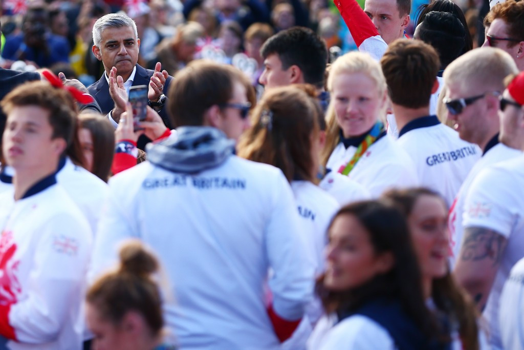 London Mayor Sadiq Khan, pictured at the Team GB victory parade, has called for an inquiry into Olympic Stadium costs and why they are so much higher than initially estimated ©Getty Images
