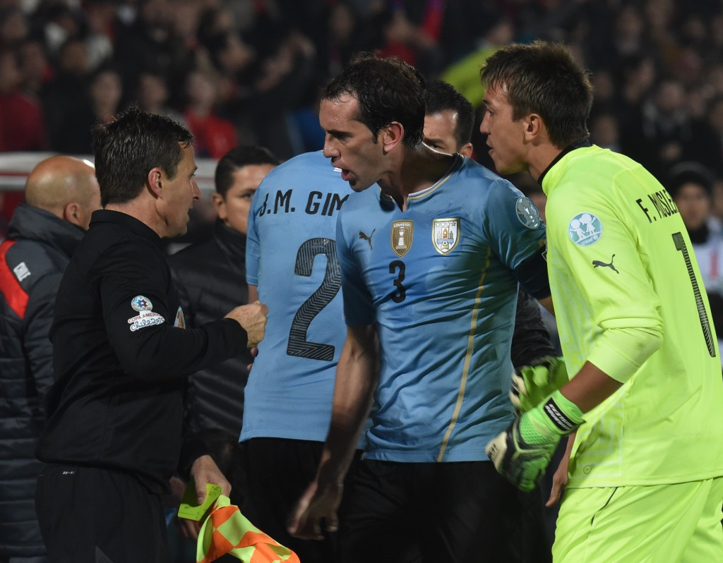 The second red card sparked anger from Uruguay's players and coaching staff