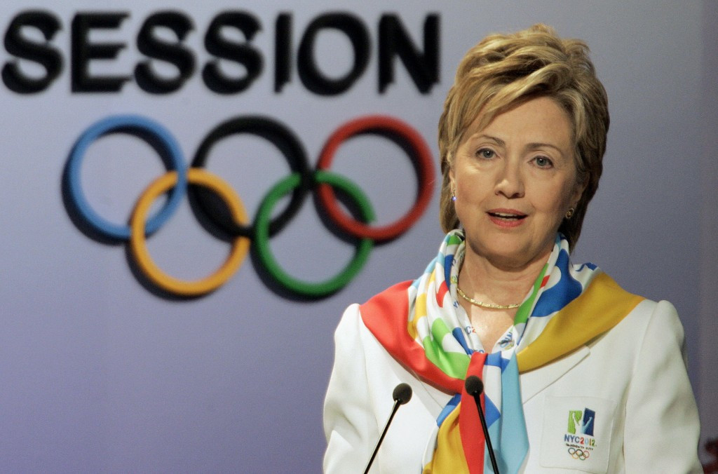 Hillary Clinton was present at the 2005 IOC Session in Singapore to support New York City 2012 ©Getty Images