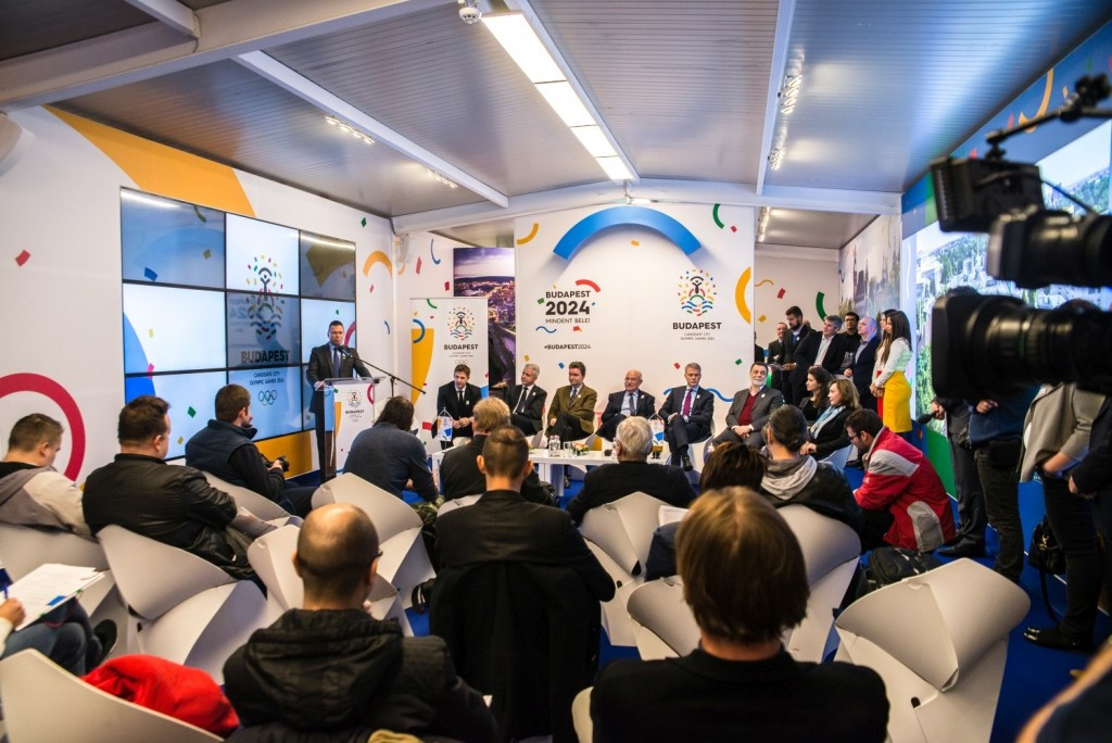 The ambassadors were revealed at the Budapest 2024 visitor centre, which is located by the Danube ©Budapest 2024