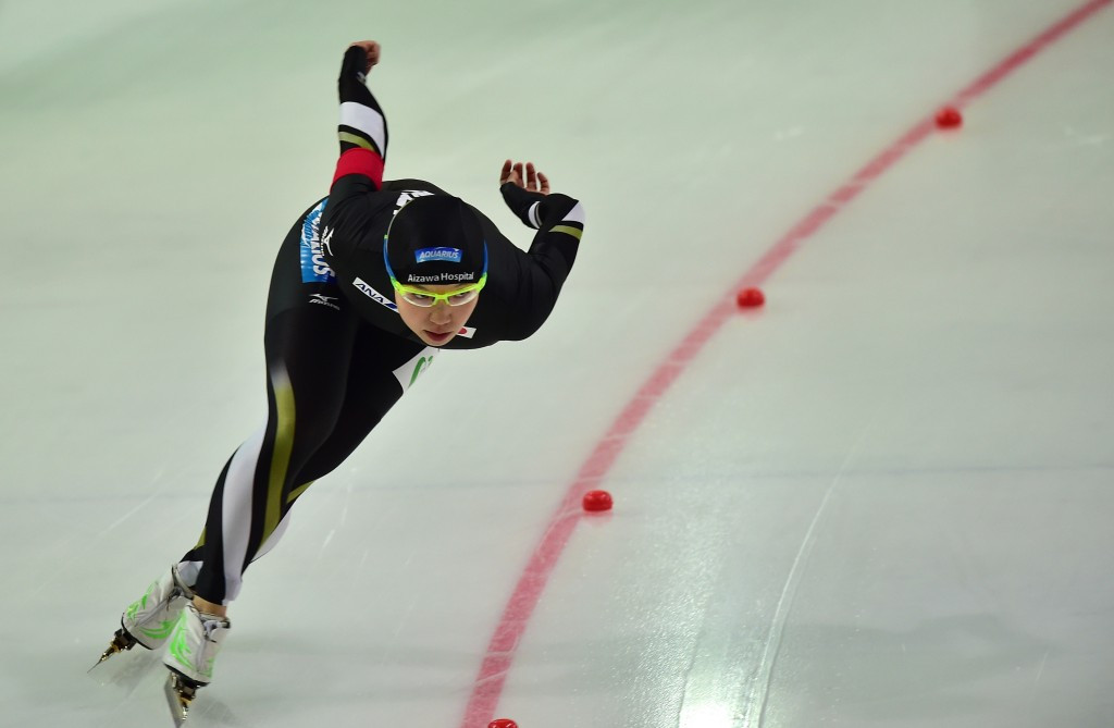 Nao Kodaira led a Japanese 1-2 in the women's 500 metres in Harbin ©Getty Images
