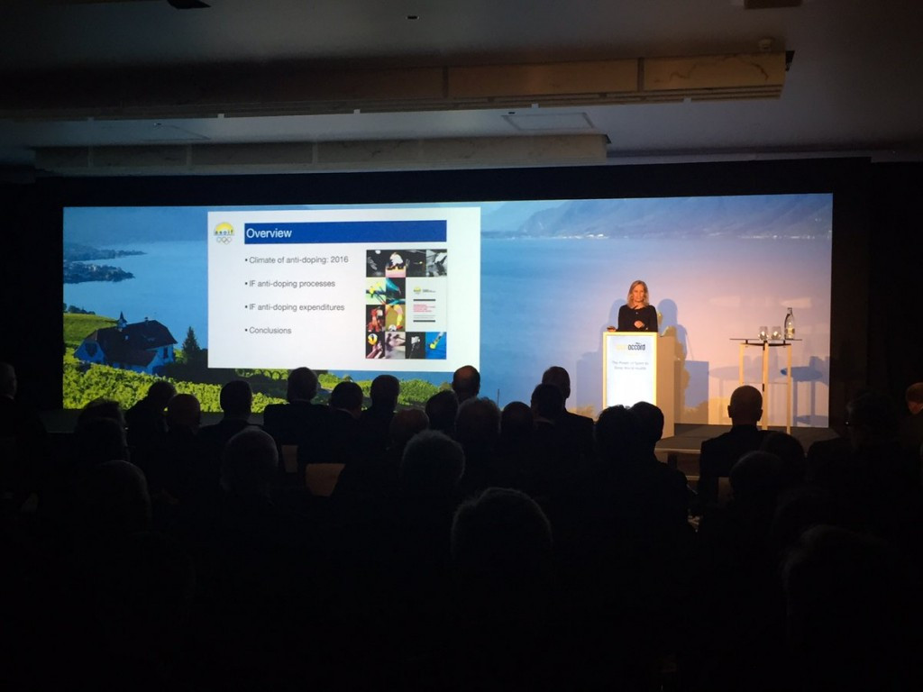 Canada's Margo Mountjoy presented the findings of the report during this week's IF Forum in Lausanne ©Twitter/ASOIF