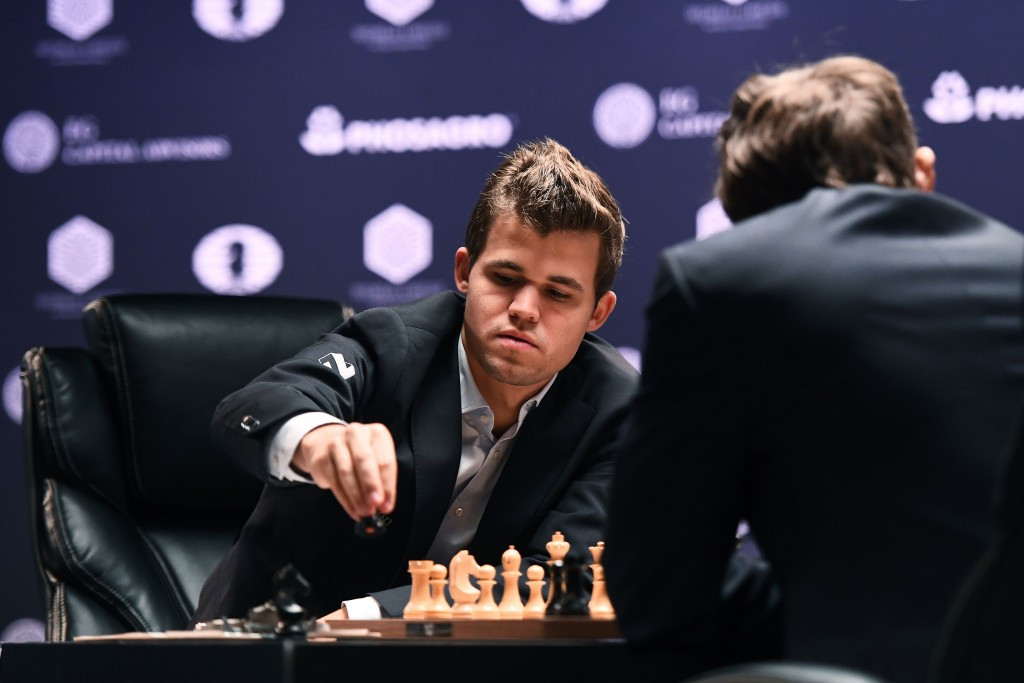 Magnus Carlsen opened the match with the Trompowsky Attack ©Getty Images