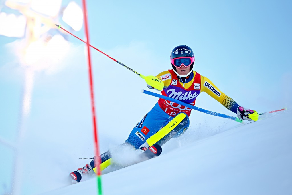 Defending slalom champion Frida Hansdotter skied out on run two and did not post a time ©Getty Images