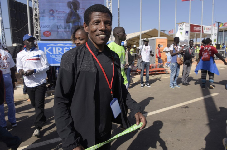 Haile Gebrselassie, pictured at the finish of this year's Dakar Marathon, has targeted doping issues and the rivalry with Kenya as two of his top areas of concern as he steps up to his new post in Ethiopian athletics ©Getty Images