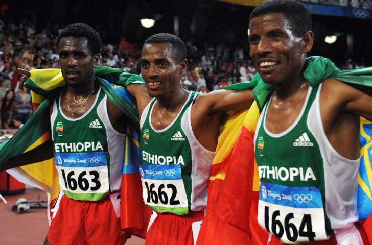 Haile Gebrselassie finished sixth in the 2008 Olympic 10,000m final behind fellow Ethiopians Silesi Sihine, silver medallist (left) and champion Kenenisa Bekele. He has since campaigned on Bekele's behalf, and will now be working closely with Sihine, who is President of the Ethiopian Athletes' Association ©Getty Images