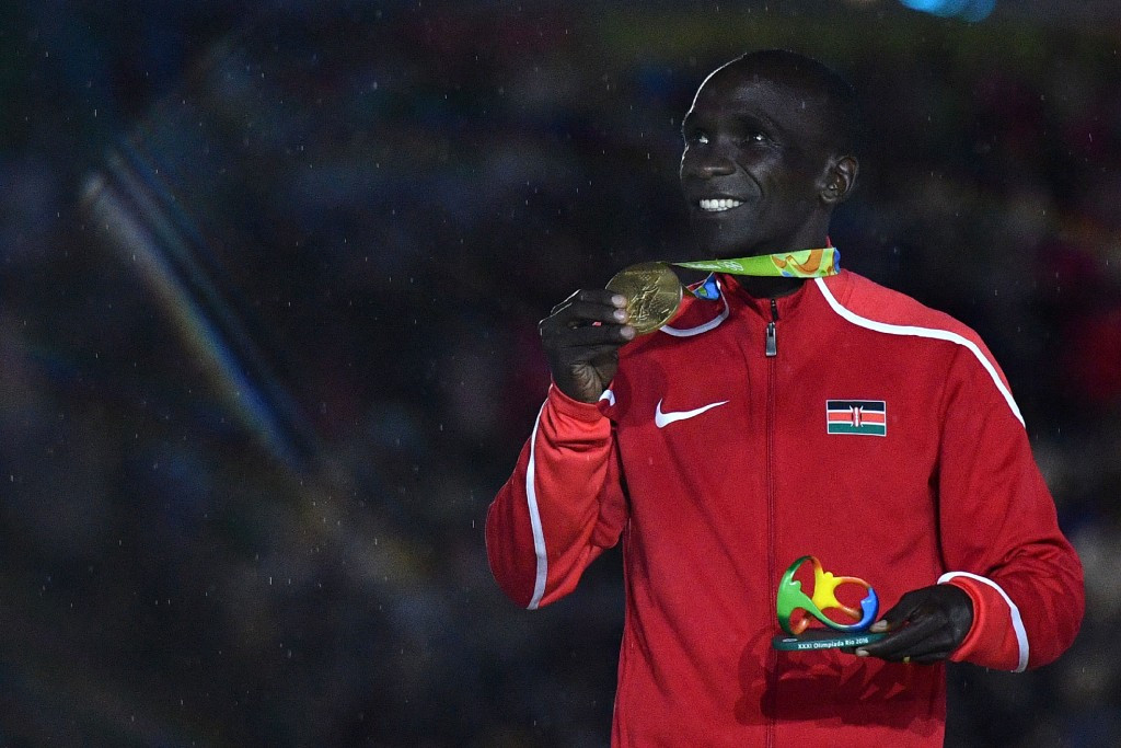 Clothing worn on and off the track by Kenyan athletes at Rio 2016, including marathon gold medallist Eliud Kipchoge, bore the famous Nike stamp ©Getty Images