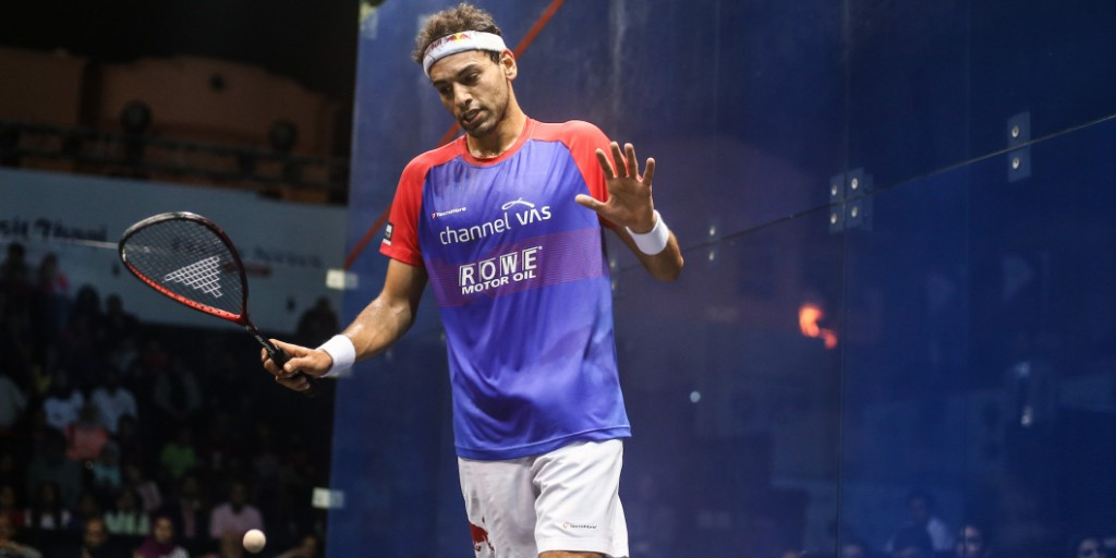 Defending champion Mohamed Elshorbagy was among those to begin their competition ©PSA