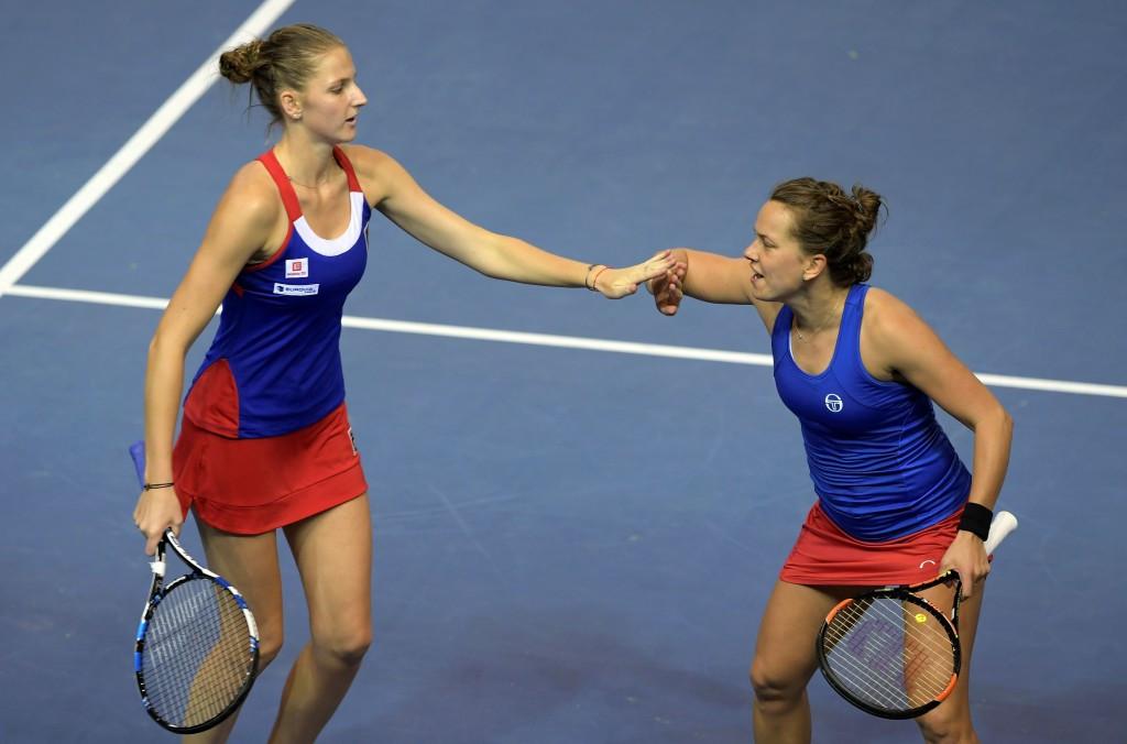 Czech Republic's Barbara Strycova (right) and teammate Karolina Pliskova (left) won the decisive doubles match ©Getty Images