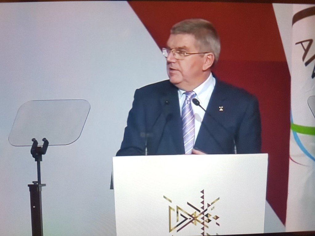 Thomas Bach delivered a strong defence on his achievements this year at the ANOC General Assembly ©Twitter/Brian Lewis