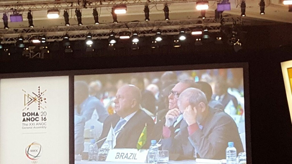 Brazil's delegation pictured listening to discussion of Rio 2016 during the ANOC General Assembly ©ITG