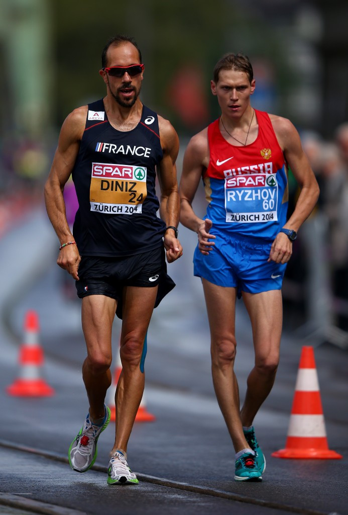 The 2013 world 50km silver medallist Mikhail Ryzhov, right, is among five Russian race walkers whose four-year doping bans were confirmed by the IAAF today ©Getty Images