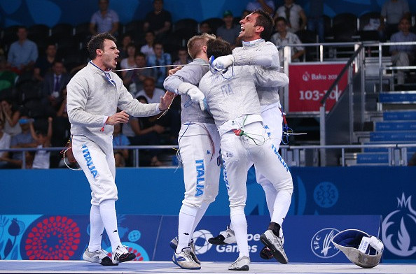 Italian shocks Romanian in thrilling finale to secure Baku 2015 team sabre fencing gold