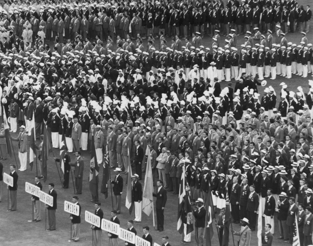 The international teams assemble at Melbourne Cricket Ground for the Opening Ceremony of the 1956 Summer Olympics ©Getty Images