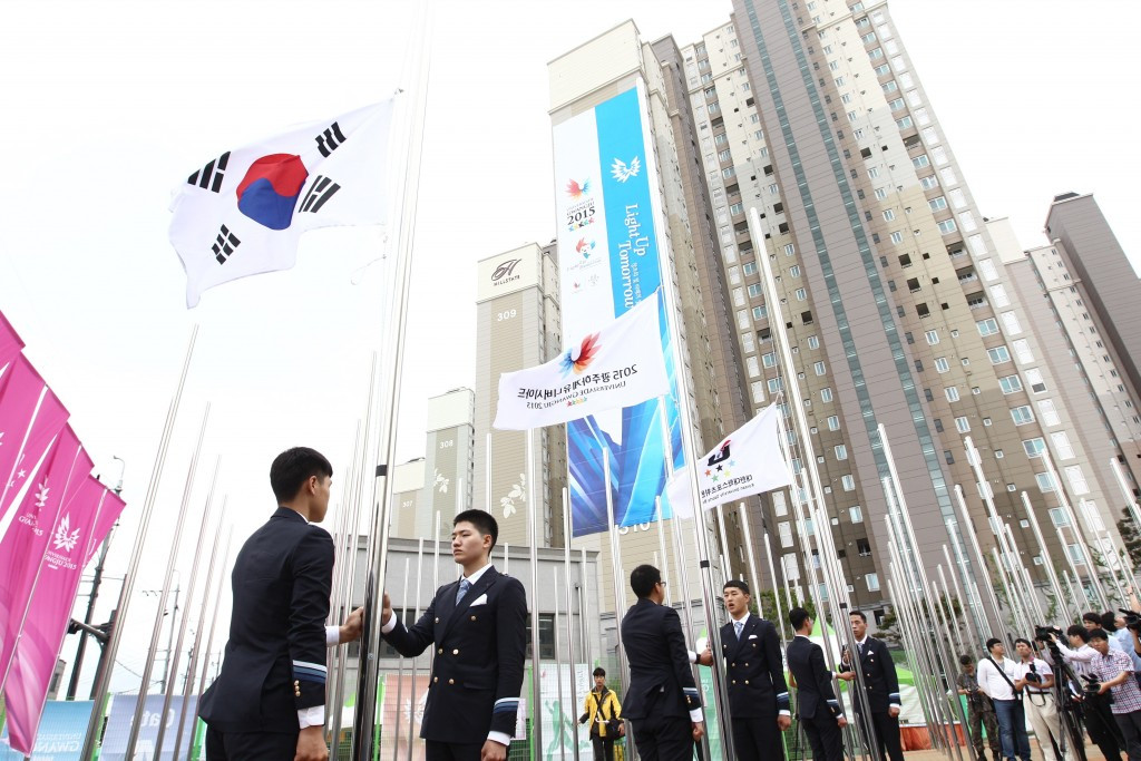 Flags where hoisted at the opening of the Gwangju 2015 Athletes Village opening