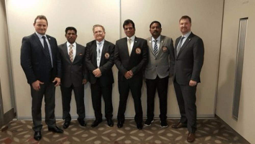 Karate South Africa President Sonny Pillay spoke at the WKF Congress in Linz ©KSA