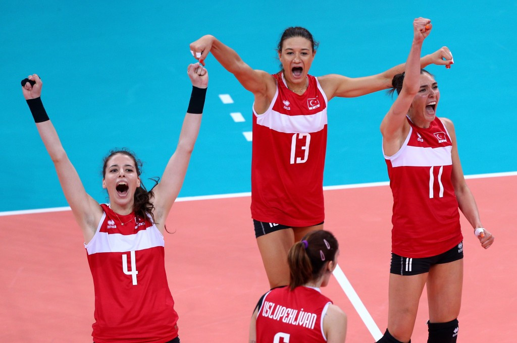 Turkey's women volleyball players celebrate a shock win over Poland in the European Games final ©Getty Images