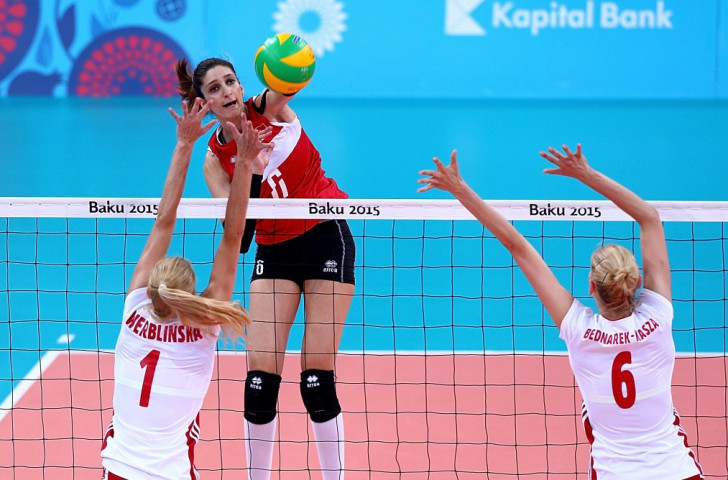 Turkey's Polen Uslupehlivan (centre) played a dominant role in her side's shock 3-0 win over Poland in the European Games gold medal match