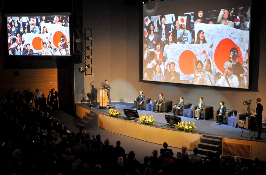 Tokyo 2020 pictured presenting during the 2013 SportAccord Convention in Saint Petersburg ©Getty Images