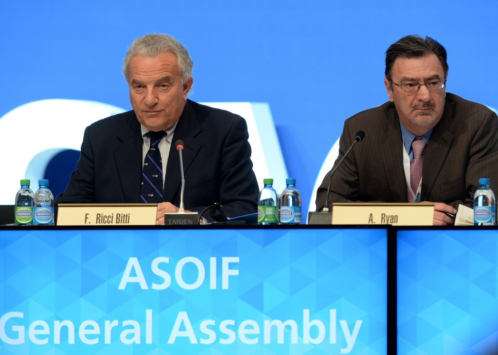 ASOIF President Francesco Ricci Bitti (left) believes bid presentations should take place during their General Assembly in April ©Getty Images