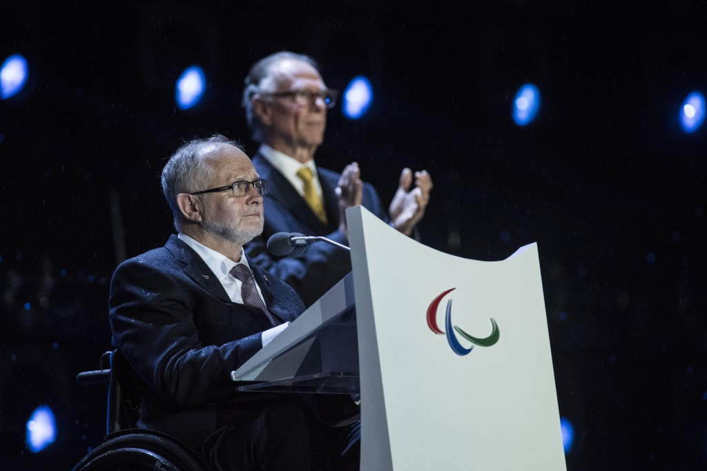 IPC President Sir Philip Craven praises the success of Rio 2016 during the Closing Ceremony ©Getty Images