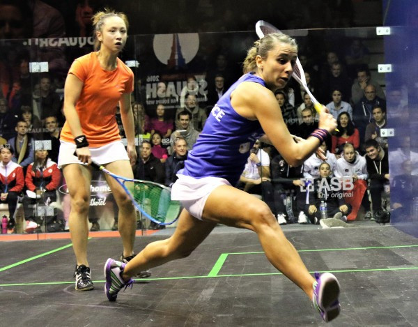 Laura Pomportes (right) produced a superb performance for France against Hong Kong ©World Squash