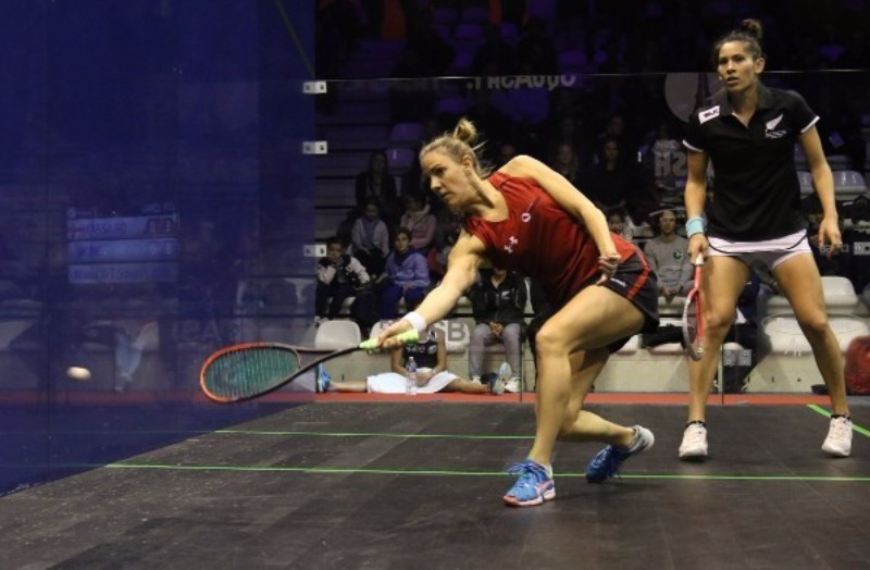 Laura Massaro (left) starred for defending champions England as they beat New Zealand ©World Squash
