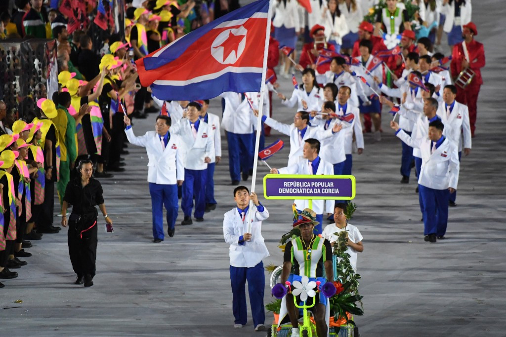 North Korean athletes marching at the Opening Ceremony of the Rio 2016 Olympic Games ©Getty Images